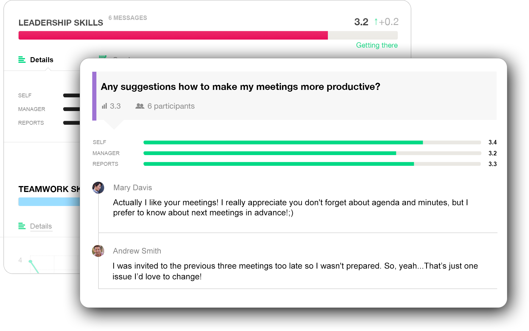 Real-time feedback between colleagues
